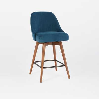 Mid-Century  Upholstered Counter Stool - Peacock Blue - West Elm