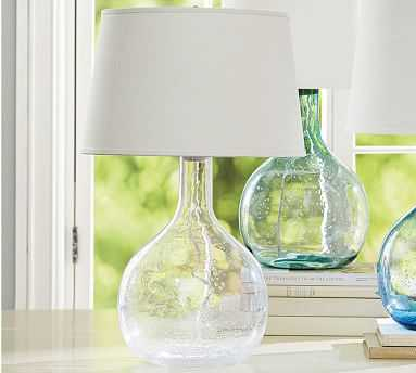 Eva Colored Glass Table Lamp - Clear - Pottery Barn