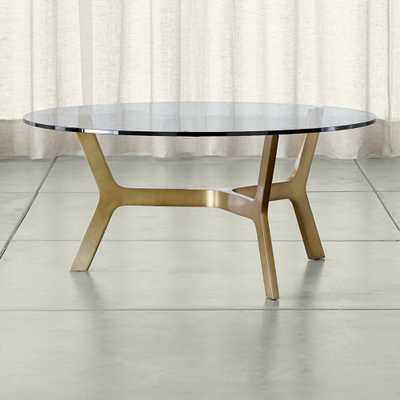 Elke Round Glass Coffee Table with Brass Base - Crate and Barrel