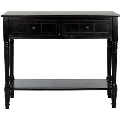 Samantha Distressed Black Storage Console Table - Home Depot