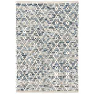 MELANGE DIAMOND BLUE WOVEN COTTON RUG - 9' x 12' - Dash and Albert