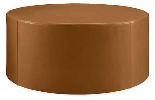 """Aero Round Ottoman 36"""" - Portofino cognac - Room & Board"""