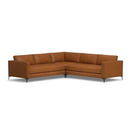 Jake Leather 3-Piece L-Shaped Corner Sectional, Vintage Caramel - Pottery Barn
