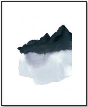 mountain scape minimal - black frame - Artfully Walls