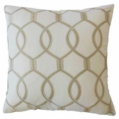 "Aella Geometric Pillow Snow, 18"" x 18"" with Down Insert - Linen & Seam"