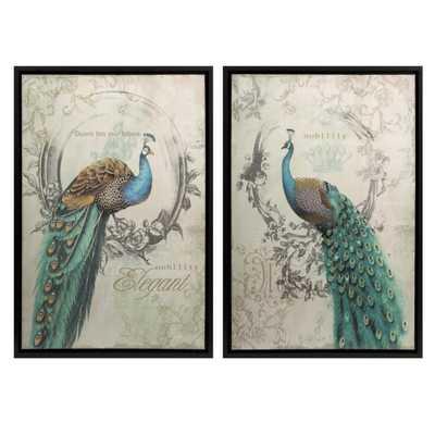 Panache Peacock Art - Set of 2 - Mercer Collection