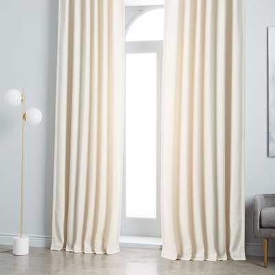 "Worn Velvet Curtain - Ivory - 48""x84"" - BLACKOUT LINING - West Elm"