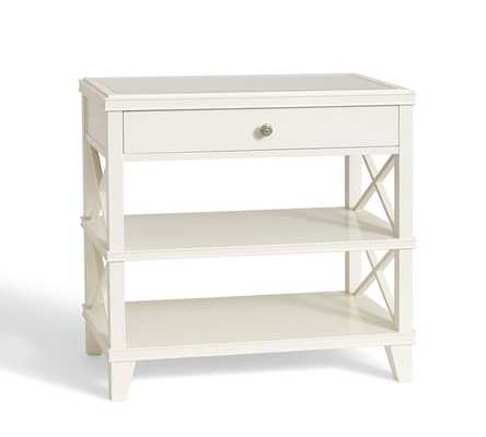 Clara Wide Bedside Table, Sky White - Pottery Barn