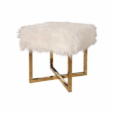 EVELYN STAINLESS STEEL FAUX FUR STOOL - Abbyson Living