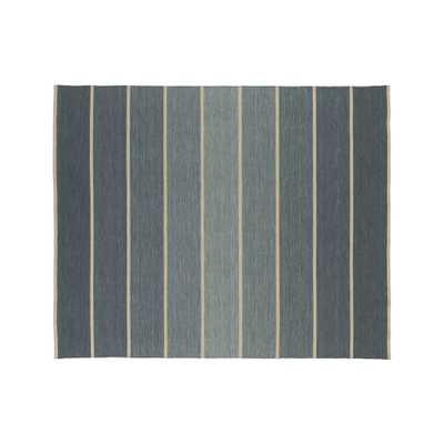 Bold Blue Wool-Blend Striped Dhurrie Rug 8'x10' - Crate and Barrel