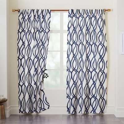 "Cotton Canvas Scribble Lattice 96"" Curtains, Midnight Blue - Set of 2 - West Elm"