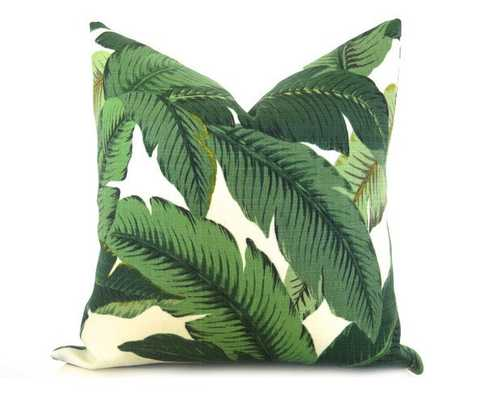 Palm Leaf Pillow Cover - Green -26 x 26- Insert Sold Separately EURO - Willa Skye