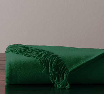 Monogrammable Throw, 50x60, Emerald - Pottery Barn