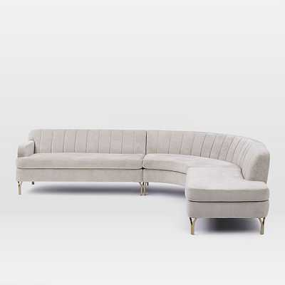 Valencia 3-Piece Terminal Chaise Sectional - LEFT SOFA, ROUND CORNER, RIGHT TERMINAL CHAISE - West Elm