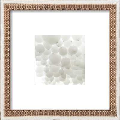 "All White - 8"" x 8"" - Distressed cream double bead wood Frame with Mat - Artfully Walls"