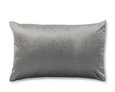 """Velvet Lumbar Pillow Cover, 14"""" X 22"""", Gray - Williams Sonoma"""