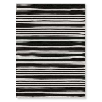 Riviera Stripe Indoor/Outdoor Rug, 9x12', Black - Williams Sonoma