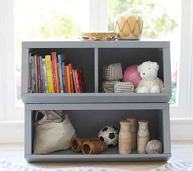 Double Market Bin w Divider, Charcoal, In-home - Pottery Barn Kids