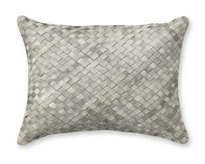 "Woven Leather Hide Pillow Cover, 12"" X 16"", Gray - Williams Sonoma"