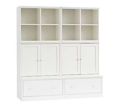 Cameron Small Space with Drawer Bases Storage Wall System, Simply White - Pottery Barn Kids