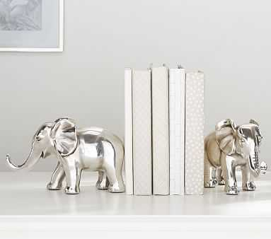 Antique Silver Elephant Bookends - Pottery Barn Kids