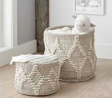 Winter Bohemian Wool Basket -White w/ Silver Metallic Toy Dump - Pottery Barn Kids