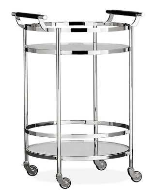 Truman Round Bar Cart, Polished Nickel, Black Leather - Williams Sonoma