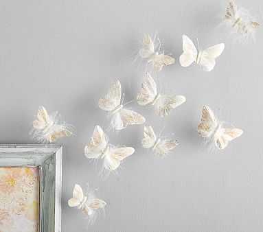 Feather Butterflies - Rosegold Glitter - Pottery Barn Kids