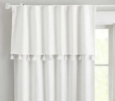 Evelyn Valance Tassel Blackout Panel, 96 Inches, White/silver - Pottery Barn Kids