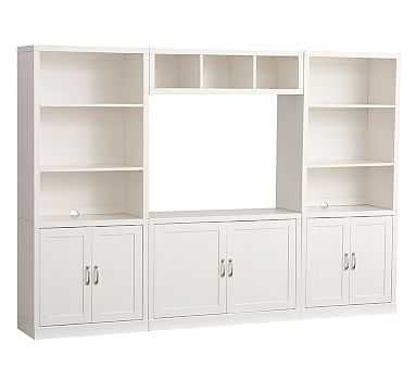 Preston Extra Wide Media Wall System, Simply White - Pottery Barn Kids