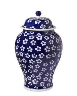 """Blue & White Ginger Jar Lidded Urn, 12"""" - Williams Sonoma"""