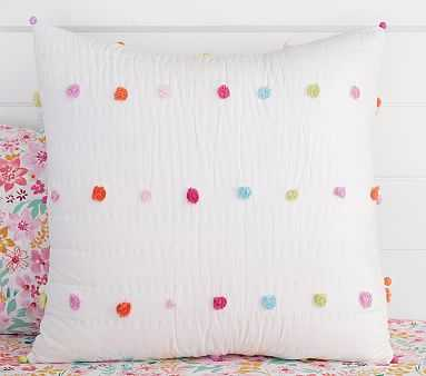 Bright Pom Pom Quilt, Euro Sham, Multi - Pottery Barn Kids