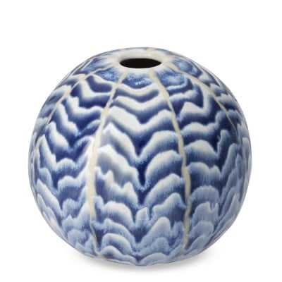 Ceramic Herringbone Vase, Round, Blue - Williams Sonoma