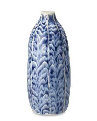 Ceramic Herringbone Vase, Tall, Blue - Williams Sonoma