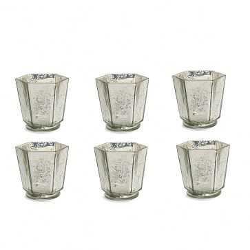 Mercury Glass Candle Holder, Set of 6, Hexagon, Silver - West Elm