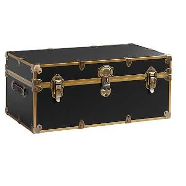 Dorm Trunk, Black with Rubbed Brass, Standard - Pottery Barn Teen