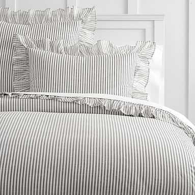 The Emily & Meritt Ruffle Stripe Duvet Cover, King, Charcoal/Ivory - Pottery Barn Teen