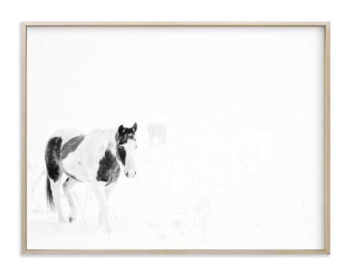 "Horses In The Fog- 40"" x 30"" - Matte Brass Frame - Minted"