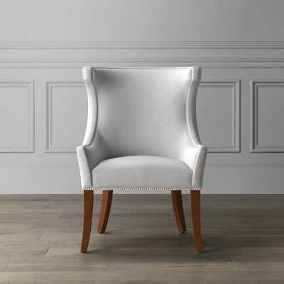 Regency Occasional Chair, Polished Nickel, Italian Distressed Leather, Blue - Williams Sonoma