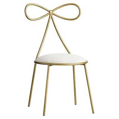 The Emily & Meritt Bow Chair, Gold/Ivory - Pottery Barn Teen