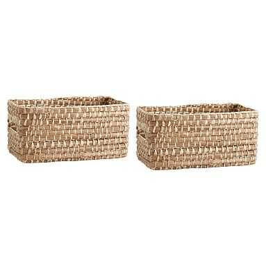 Naturalist Woven Storage Bins, Mini, Set Of 2, Natural Woven - Pottery Barn Teen