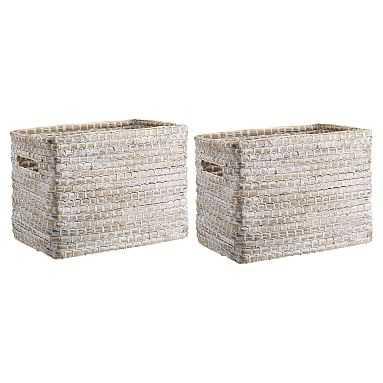 Naturalist Woven Storage Bins, Medium, Set Of 2, White Wash - Pottery Barn Teen