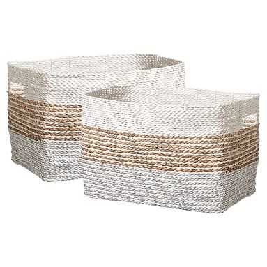 Shimmer Stripe Storage Bin Medium, Set Of 2 - Pottery Barn Teen