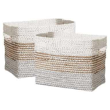 Shimmer Stripe Storage Bin Large, Set Of 2 - Pottery Barn Teen