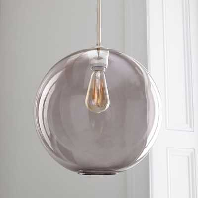 Sculptural Glass Globe Pendant, Large Globe, Smoke Shade, Nickel - West Elm