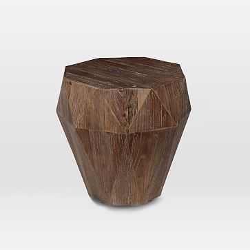 Reclaimed Wood Faceted Side Table, Weathered Brush Natural Oak - West Elm