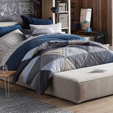 Huntley Patch Quilt, Full/Queen, Blue Multi - Pottery Barn Teen