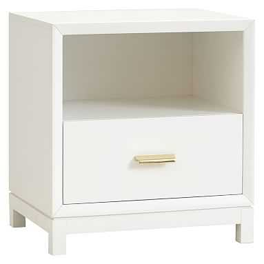 Rowan 1-Drawer Storage Bedside Table, Lacquer Simply White - Pottery Barn Teen