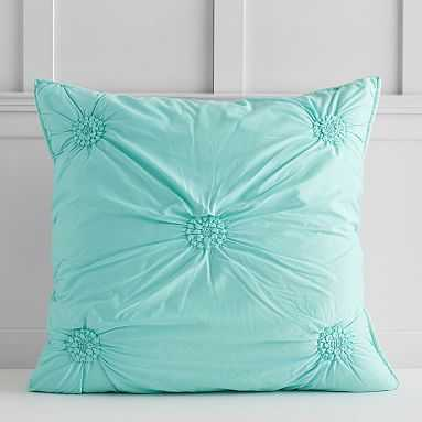 Ruched Rosette Euro Sham, Light Turquoise - Pottery Barn Teen