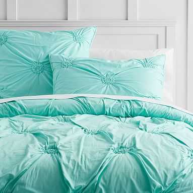 Ruched Rosette Quilt, Full/Queen, Light Turquoise - Pottery Barn Teen